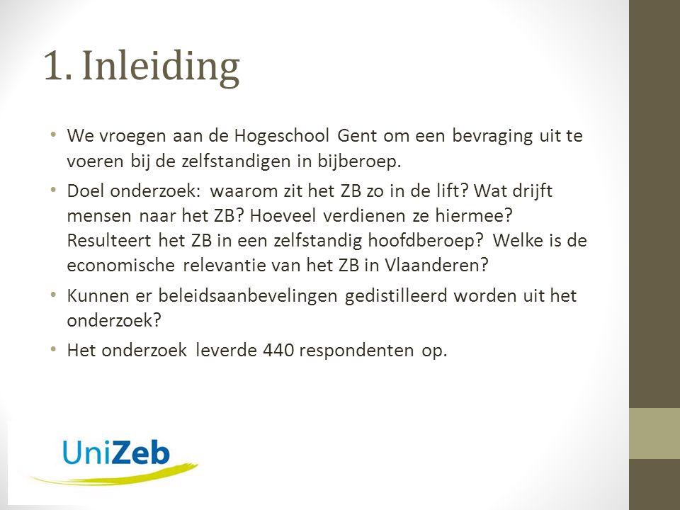 1. Inleiding • We vroegen aan de Hogeschool Gent om een bevraging uit te voeren bij de zelfstandigen in bijberoep. • Doel onderzoek: waarom zit het ZB