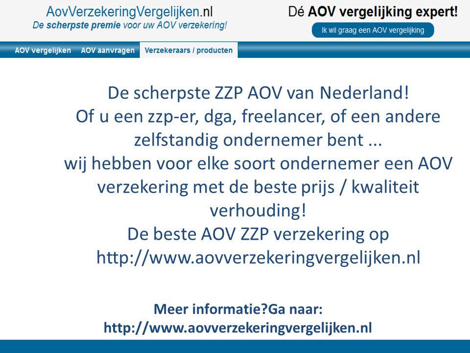 De scherpste ZZP AOV van Nederland! Of u een zzp-er, dga, freelancer, of een andere zelfstandig ondernemer bent... wij hebben voor elke soort ondernem