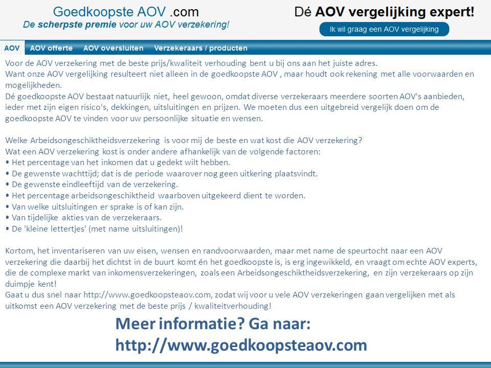 Voor de AOV verzekering met de beste prijs/kwaliteit verhouding bent u bij ons aan het juiste adres. Want onze AOV vergelijking resulteert niet alleen
