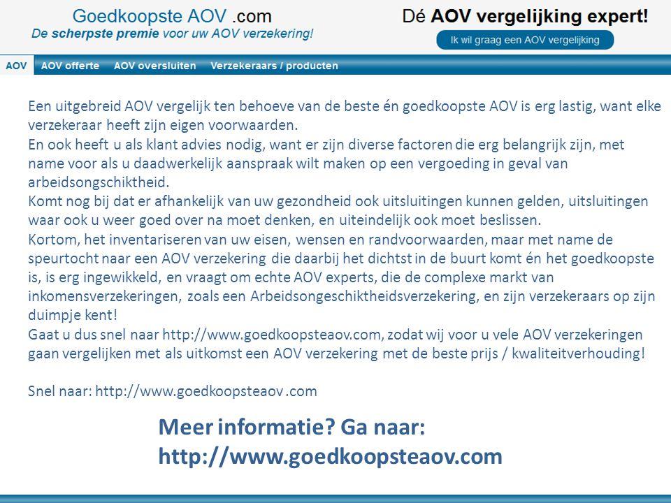 Een uitgebreid AOV vergelijk ten behoeve van de beste én goedkoopste AOV is erg lastig, want elke verzekeraar heeft zijn eigen voorwaarden. En ook hee