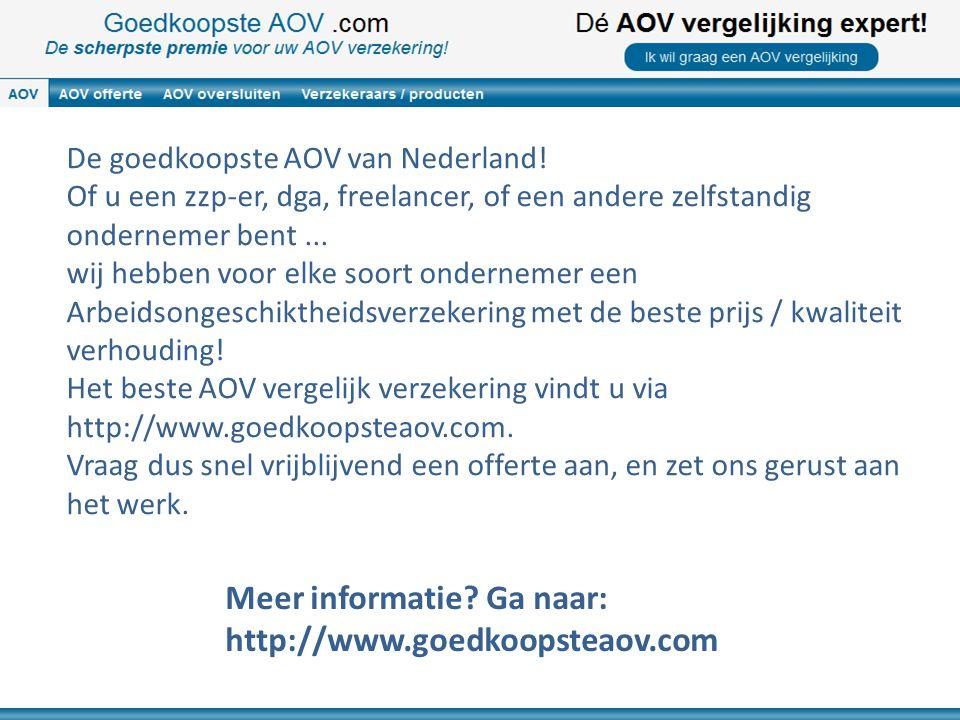 De goedkoopste AOV van Nederland! Of u een zzp-er, dga, freelancer, of een andere zelfstandig ondernemer bent... wij hebben voor elke soort ondernemer