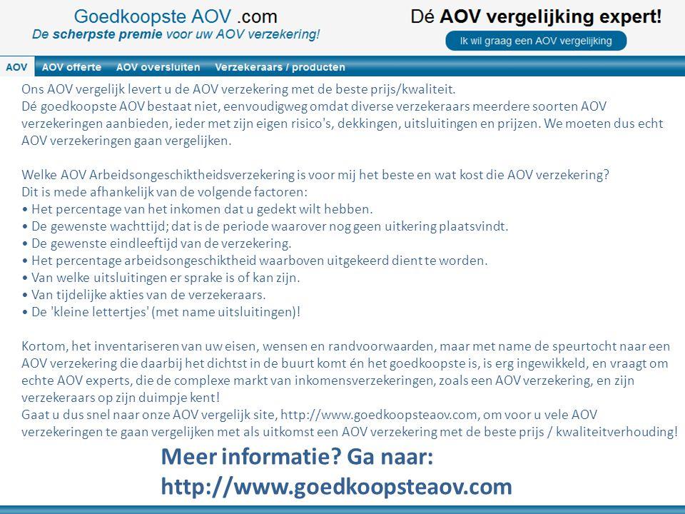 Ons AOV vergelijk levert u de AOV verzekering met de beste prijs/kwaliteit. Dé goedkoopste AOV bestaat niet, eenvoudigweg omdat diverse verzekeraars m