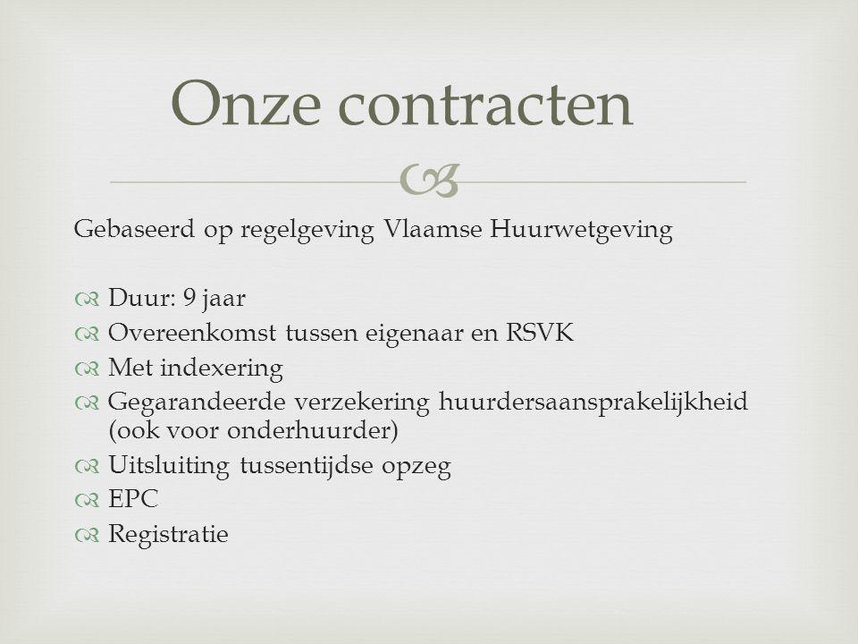  Gebaseerd op regelgeving Vlaamse Huurwetgeving  Duur: 9 jaar  Overeenkomst tussen eigenaar en RSVK  Met indexering  Gegarandeerde verzekering hu