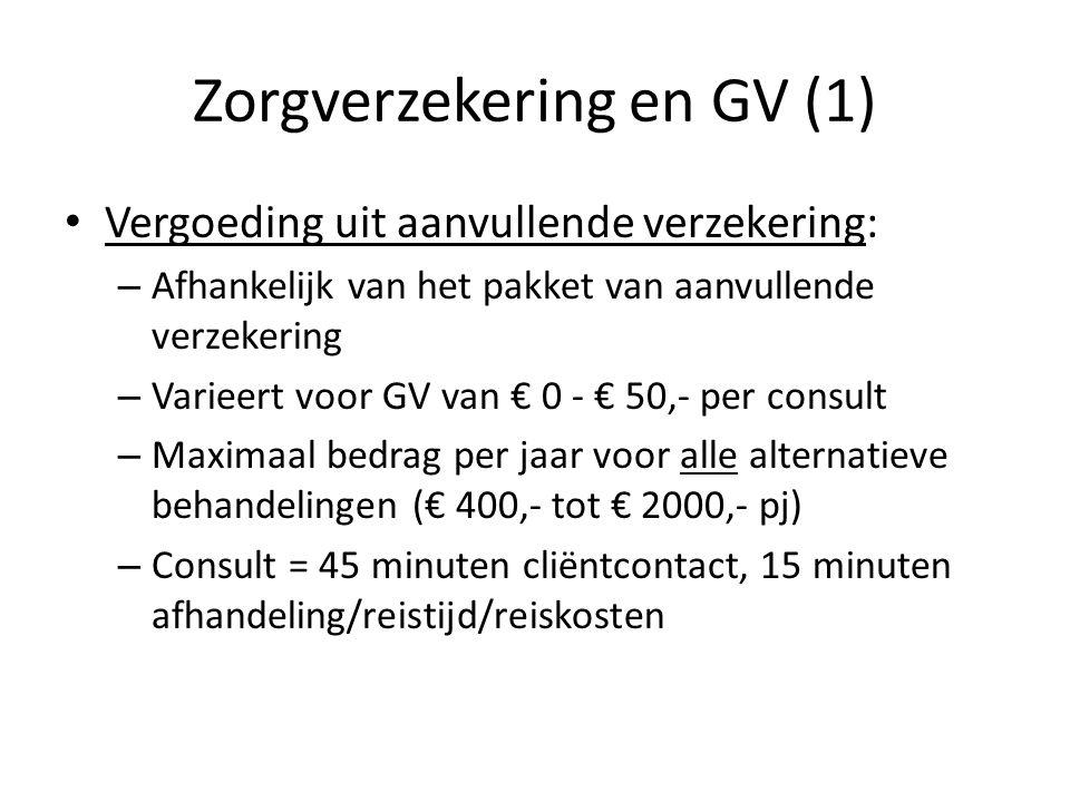 Zorgverzekering en GV (1) • Vergoeding uit aanvullende verzekering: – Afhankelijk van het pakket van aanvullende verzekering – Varieert voor GV van €