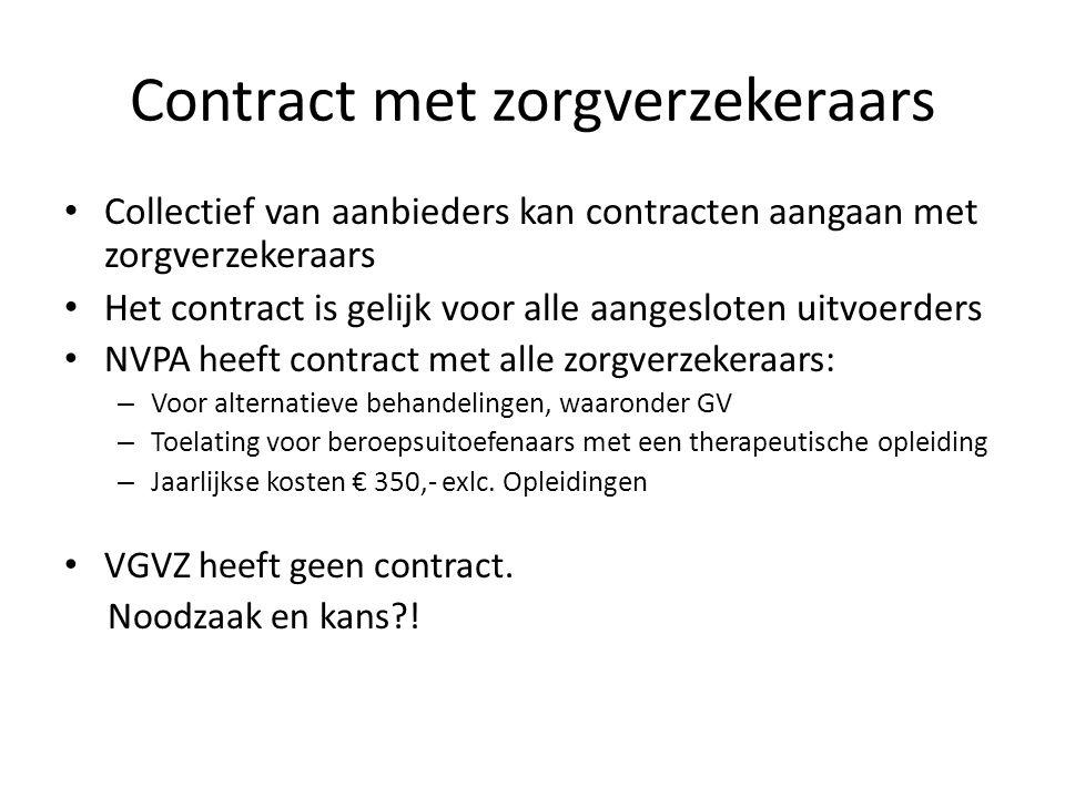Contract met zorgverzekeraars • Collectief van aanbieders kan contracten aangaan met zorgverzekeraars • Het contract is gelijk voor alle aangesloten u