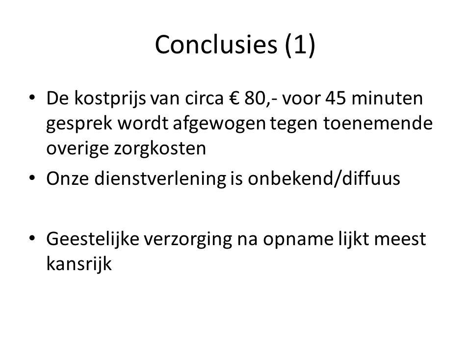 Conclusies (1) • De kostprijs van circa € 80,- voor 45 minuten gesprek wordt afgewogen tegen toenemende overige zorgkosten • Onze dienstverlening is o