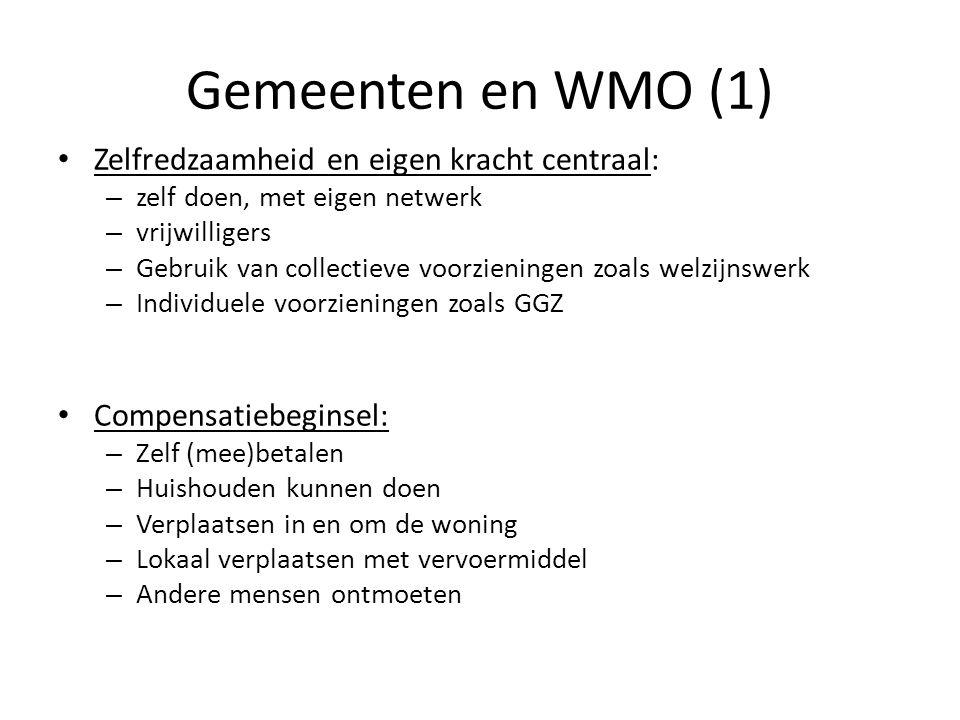 Gemeenten en WMO (1) • Zelfredzaamheid en eigen kracht centraal: – zelf doen, met eigen netwerk – vrijwilligers – Gebruik van collectieve voorzieninge