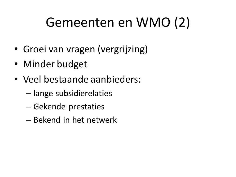 Gemeenten en WMO (2) • Groei van vragen (vergrijzing) • Minder budget • Veel bestaande aanbieders: – lange subsidierelaties – Gekende prestaties – Bek