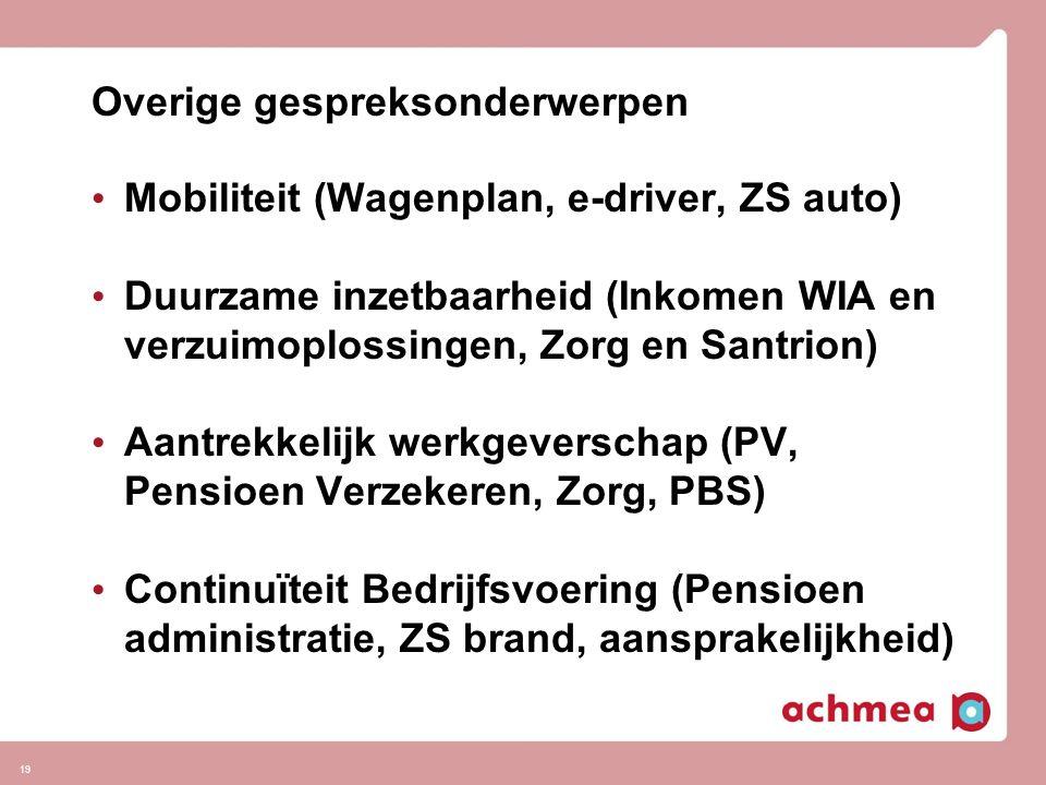 19 Overige gespreksonderwerpen • Mobiliteit (Wagenplan, e-driver, ZS auto) • Duurzame inzetbaarheid (Inkomen WIA en verzuimoplossingen, Zorg en Santri