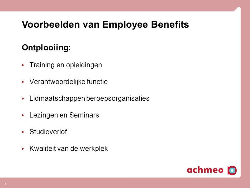 9 Ontplooiing: • Training en opleidingen • Verantwoordelijke functie • Lidmaatschappen beroepsorganisaties • Lezingen en Seminars • Studieverlof • Kwa