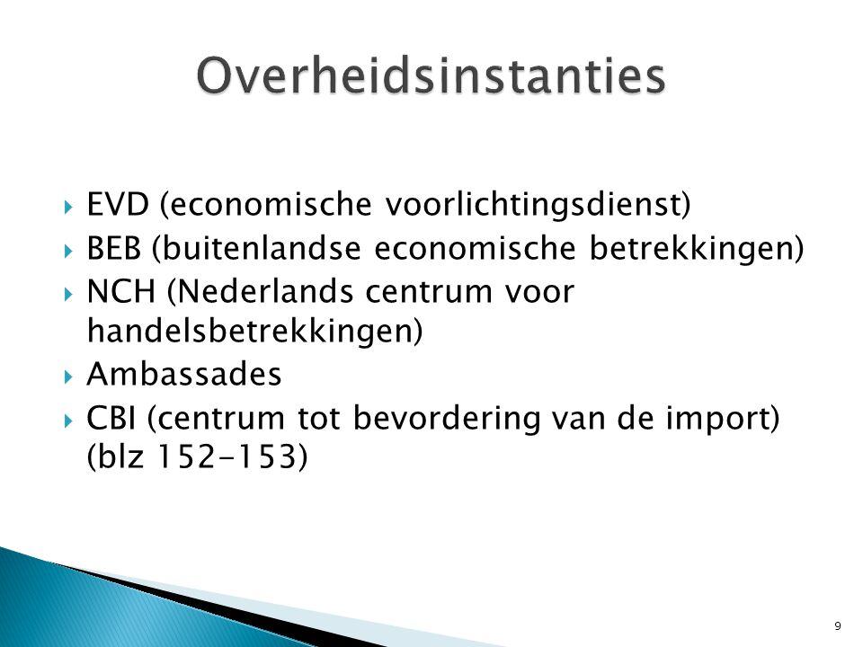  EVD (economische voorlichtingsdienst)  BEB (buitenlandse economische betrekkingen)  NCH (Nederlands centrum voor handelsbetrekkingen)  Ambassades  CBI (centrum tot bevordering van de import) (blz 152-153) 9