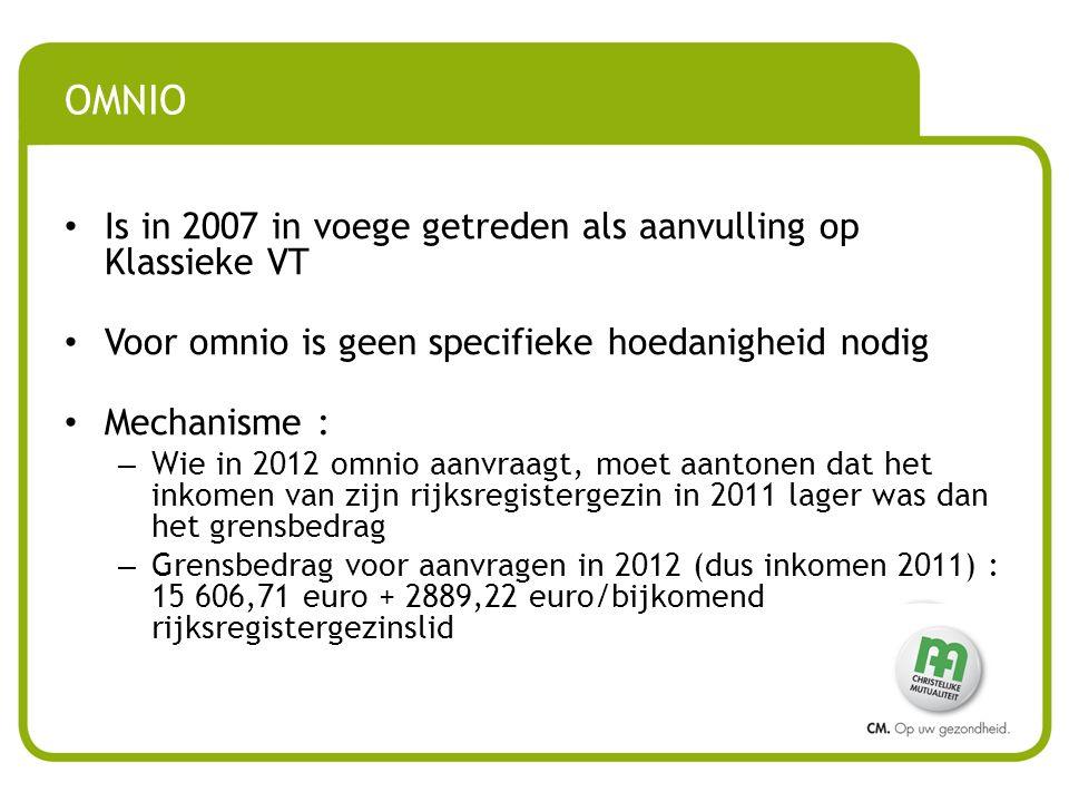 • Is in 2007 in voege getreden als aanvulling op Klassieke VT • Voor omnio is geen specifieke hoedanigheid nodig • Mechanisme : – Wie in 2012 omnio aanvraagt, moet aantonen dat het inkomen van zijn rijksregistergezin in 2011 lager was dan het grensbedrag – Grensbedrag voor aanvragen in 2012 (dus inkomen 2011) : 15 606,71 euro + 2889,22 euro/bijkomend rijksregistergezinslid OMNIO
