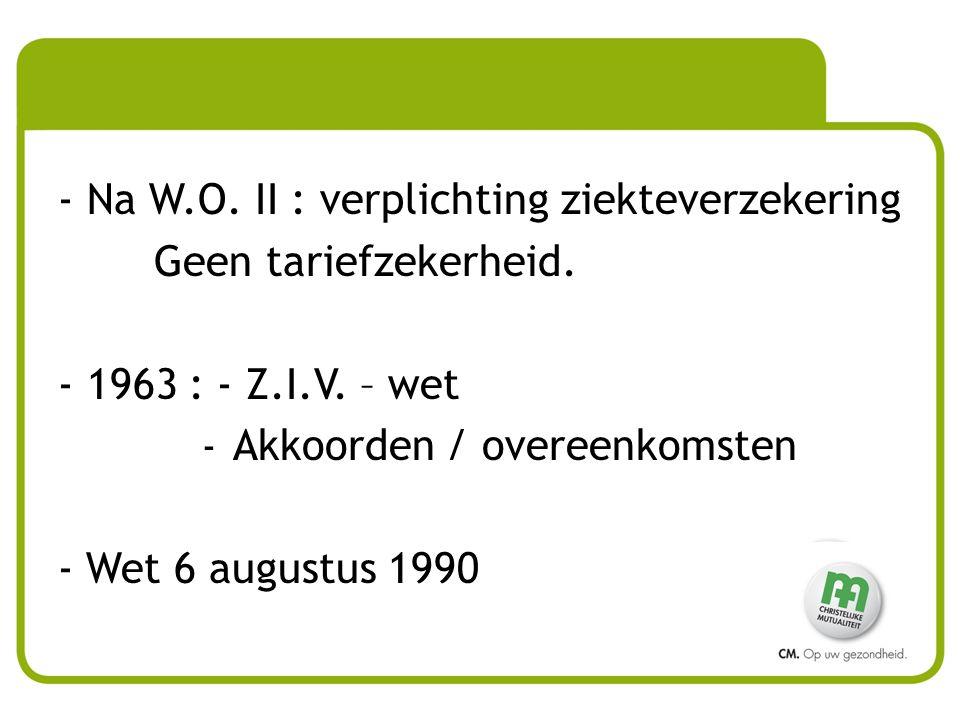 - Na W.O.II : verplichting ziekteverzekering Geen tariefzekerheid.