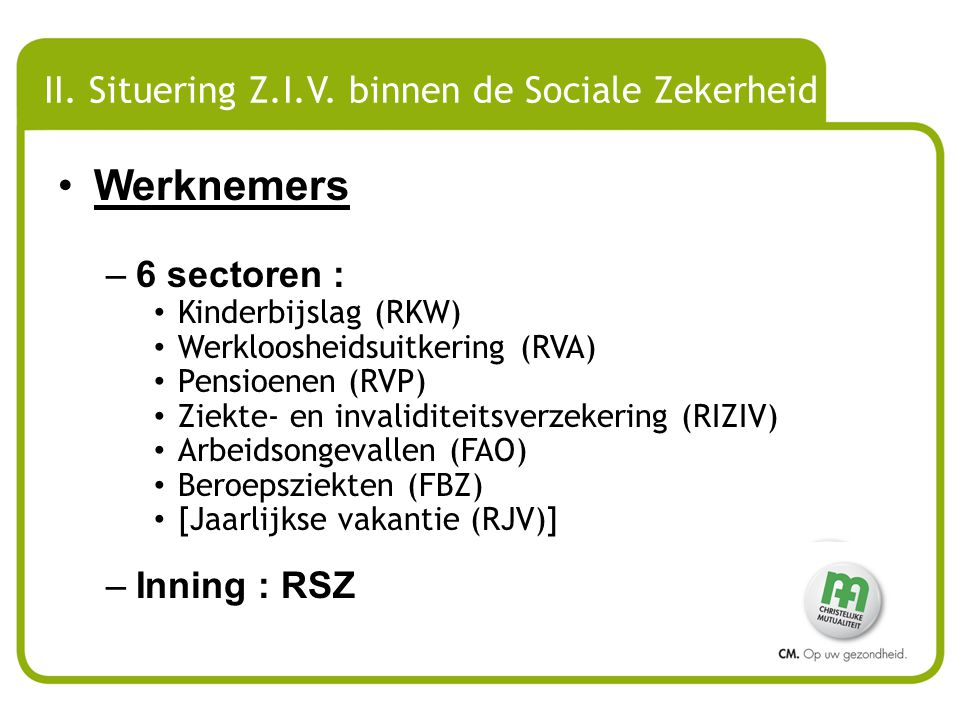 II.1 AANDEEL VERSCHILLENDE TAKKEN IN DE SOCIALE ZEKERHEID (werknemers) 1980 2008 2010 Gezondheidszorg24,55 34,33 37,74 Prim.