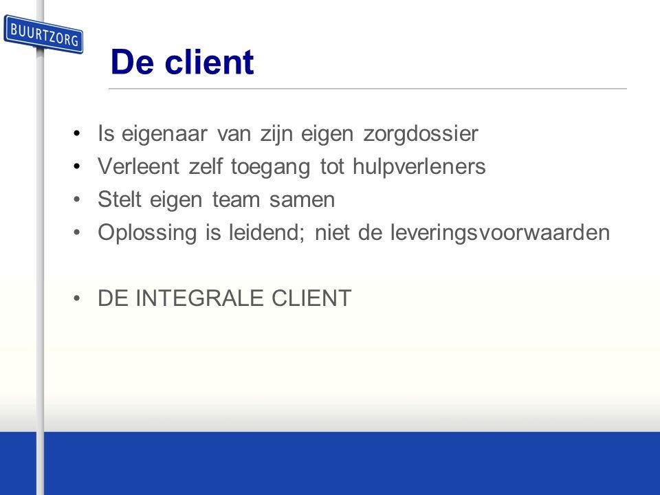 De client •Is eigenaar van zijn eigen zorgdossier •Verleent zelf toegang tot hulpverleners •Stelt eigen team samen •Oplossing is leidend; niet de leve