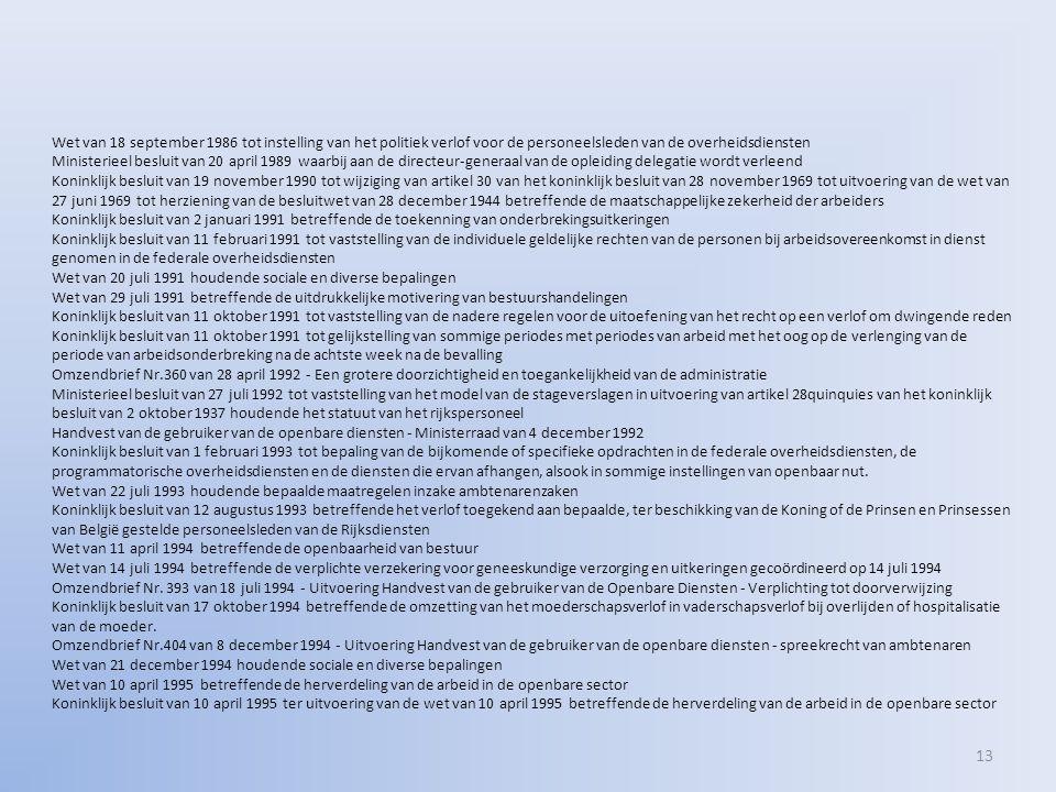 13 Wet van 18 september 1986 tot instelling van het politiek verlof voor de personeelsleden van de overheidsdiensten Ministerieel besluit van 20 april 1989 waarbij aan de directeur-generaal van de opleiding delegatie wordt verleend Koninklijk besluit van 19 november 1990 tot wijziging van artikel 30 van het koninklijk besluit van 28 november 1969 tot uitvoering van de wet van 27 juni 1969 tot herziening van de besluitwet van 28 december 1944 betreffende de maatschappelijke zekerheid der arbeiders Koninklijk besluit van 2 januari 1991 betreffende de toekenning van onderbrekingsuitkeringen Koninklijk besluit van 11 februari 1991 tot vaststelling van de individuele geldelijke rechten van de personen bij arbeidsovereenkomst in dienst genomen in de federale overheidsdiensten Wet van 20 juli 1991 houdende sociale en diverse bepalingen Wet van 29 juli 1991 betreffende de uitdrukkelijke motivering van bestuurshandelingen Koninklijk besluit van 11 oktober 1991 tot vaststelling van de nadere regelen voor de uitoefening van het recht op een verlof om dwingende reden Koninklijk besluit van 11 oktober 1991 tot gelijkstelling van sommige periodes met periodes van arbeid met het oog op de verlenging van de periode van arbeidsonderbreking na de achtste week na de bevalling Omzendbrief Nr.360 van 28 april 1992 - Een grotere doorzichtigheid en toegankelijkheid van de administratie Ministerieel besluit van 27 juli 1992 tot vaststelling van het model van de stageverslagen in uitvoering van artikel 28quinquies van het koninklijk besluit van 2 oktober 1937 houdende het statuut van het rijkspersoneel Handvest van de gebruiker van de openbare diensten - Ministerraad van 4 december 1992 Koninklijk besluit van 1 februari 1993 tot bepaling van de bijkomende of specifieke opdrachten in de federale overheidsdiensten, de programmatorische overheidsdiensten en de diensten die ervan afhangen, alsook in sommige instellingen van openbaar nut.