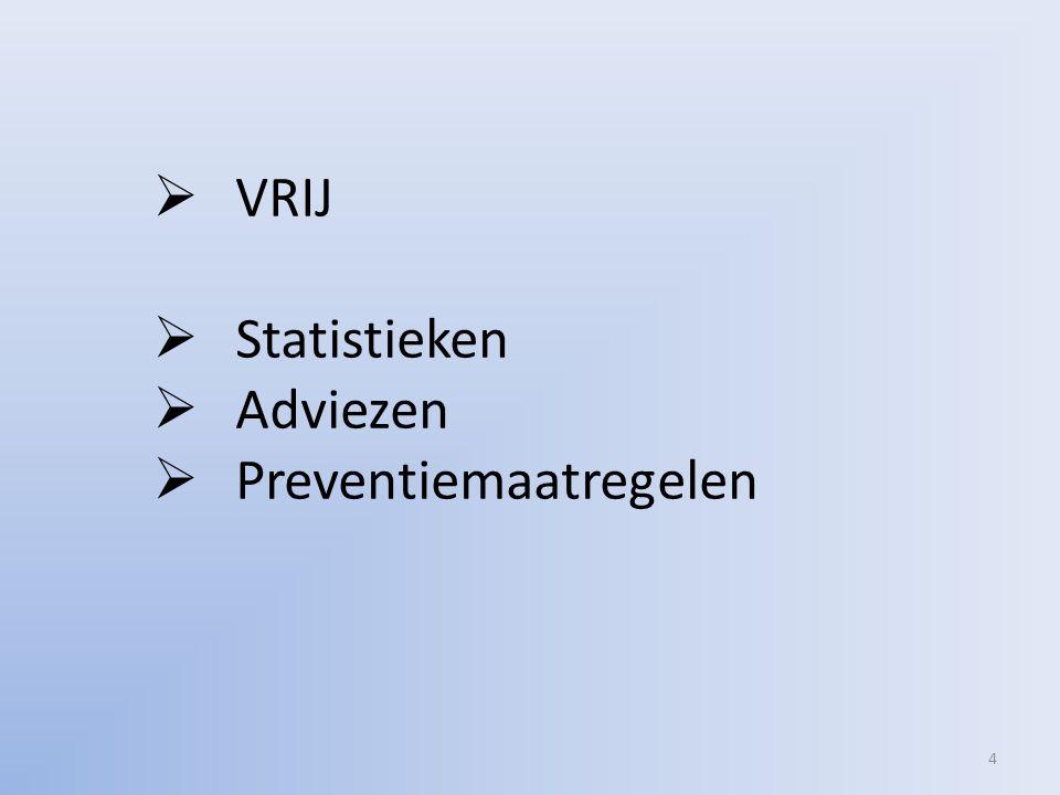 4  VRIJ  Statistieken  Adviezen  Preventiemaatregelen
