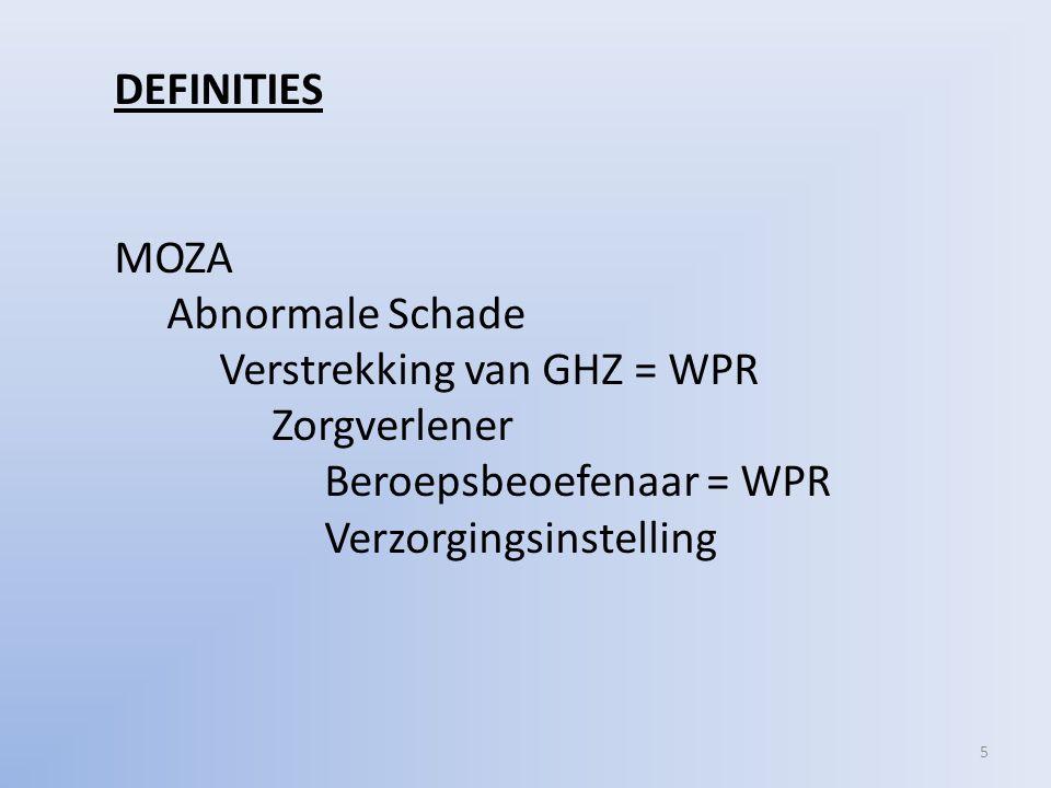 5 DEFINITIES MOZA Abnormale Schade Verstrekking van GHZ = WPR Zorgverlener Beroepsbeoefenaar = WPR Verzorgingsinstelling