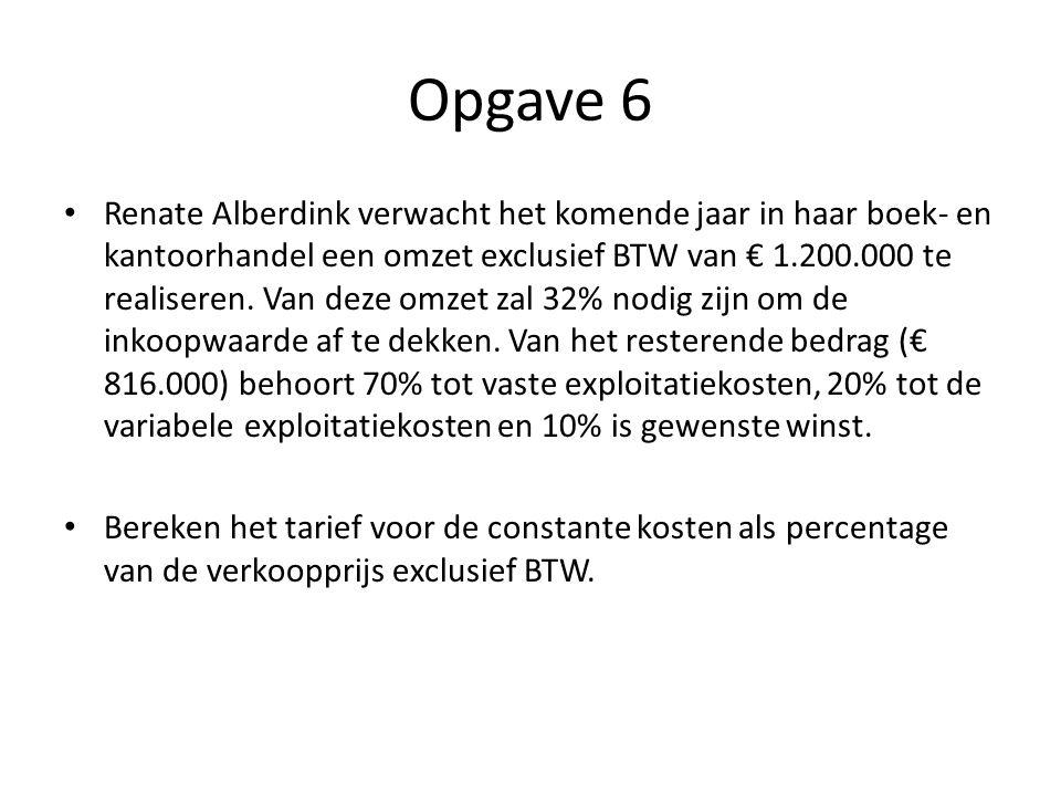 Opgave 6 • Renate Alberdink verwacht het komende jaar in haar boek- en kantoorhandel een omzet exclusief BTW van € 1.200.000 te realiseren. Van deze o