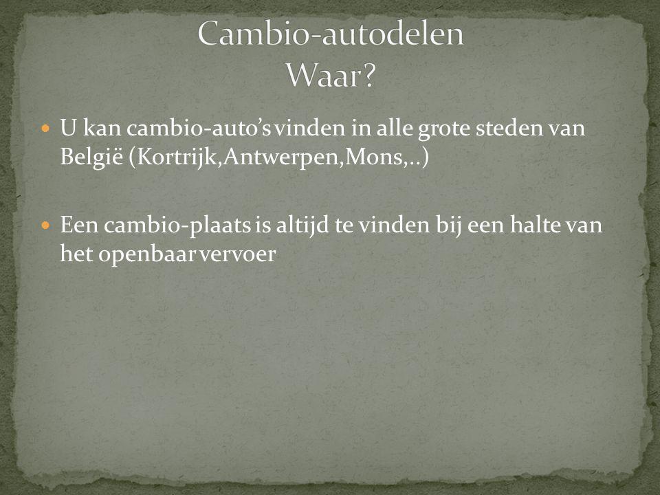  U kan cambio-auto's vinden in alle grote steden van België (Kortrijk,Antwerpen,Mons,..)  Een cambio-plaats is altijd te vinden bij een halte van he