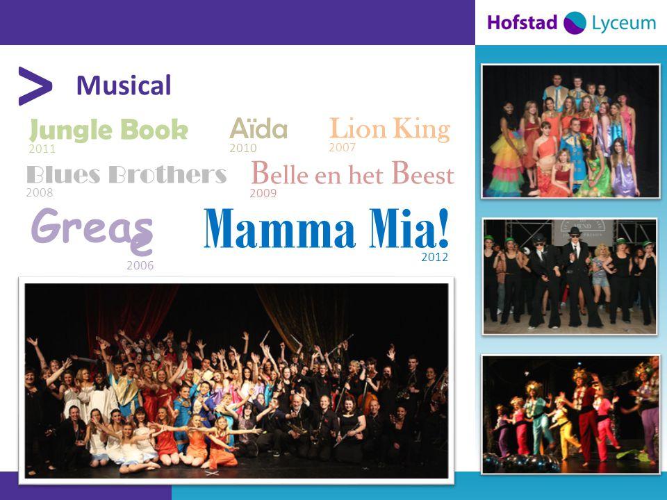 > Musical Blues Brothers 2008 Aïda 2010 B elle en het B eest 2009 Jungle Book 2011 Mamma Mia.