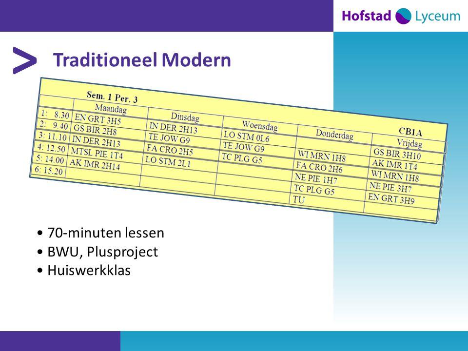 > Traditioneel Modern • 70-minuten lessen • BWU, Plusproject • Huiswerkklas