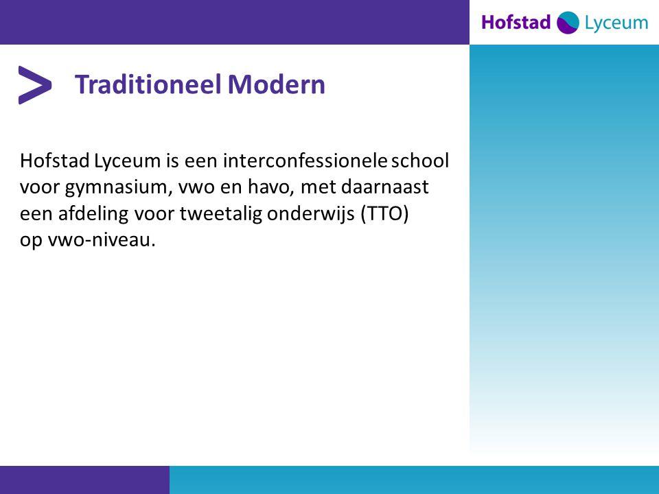 > Traditioneel Modern Hofstad Lyceum is een interconfessionele school voor gymnasium, vwo en havo, met daarnaast een afdeling voor tweetalig onderwijs (TTO) op vwo-niveau.