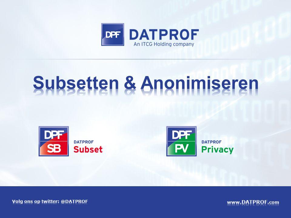 ITCG en DATPROF - Data Warehousing - Data Migratie - Data Kwaliteit - Test Data Management Opgericht in 1998, gespecialiseerd in data integratie Diensten Producten