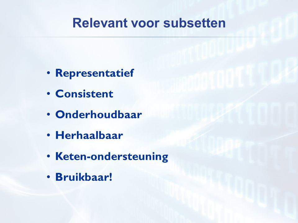 • Representatief • Consistent • Onderhoudbaar • Herhaalbaar • Keten-ondersteuning • Bruikbaar! Relevant voor subsetten