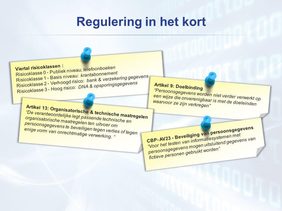 Regulering in het kort Viertal risicoklassen : Risicoklasse 0 - Publiek niveau; telefoonboeken Risicoklasse 1 - Basis niveau: krantabonnement Risicoklasse 2 - Verhoogd risico: bank & verzekering gegevens Risicoklasse 3 - Hoog risico: DNA & opsporingsgegevens Artikel 9: Doelbinding Persoonsgegevens worden niet verder verwerkt op een wijze die onverenigbaar is met de doeleinden waarvoor ze zijn verkregen Artikel 13: Organisatorische & technische maatregelen De verantwoordelijke legt passende technische en organisatorische maatregelen ten uitvoer om persoonsgegevens te beveiligen tegen verlies of tegen enige vorm van onrechtmatige verwerking.