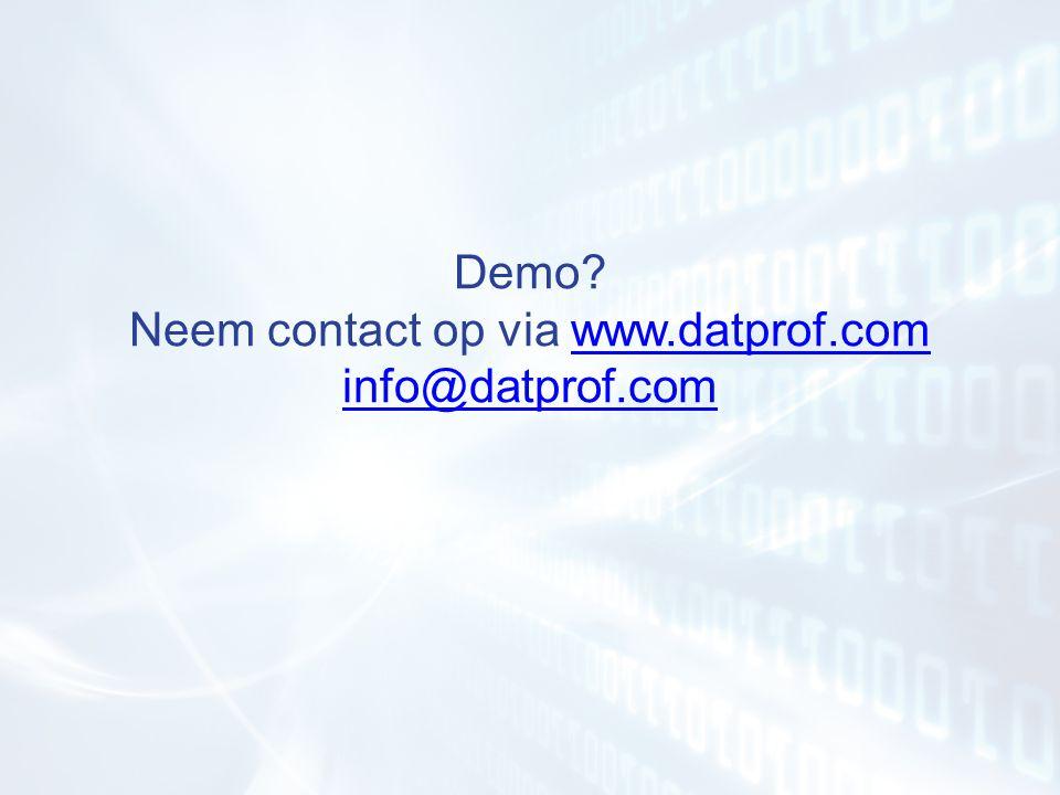 Demo? Neem contact op via www.datprof.com info@datprof.comwww.datprof.com info@datprof.com
