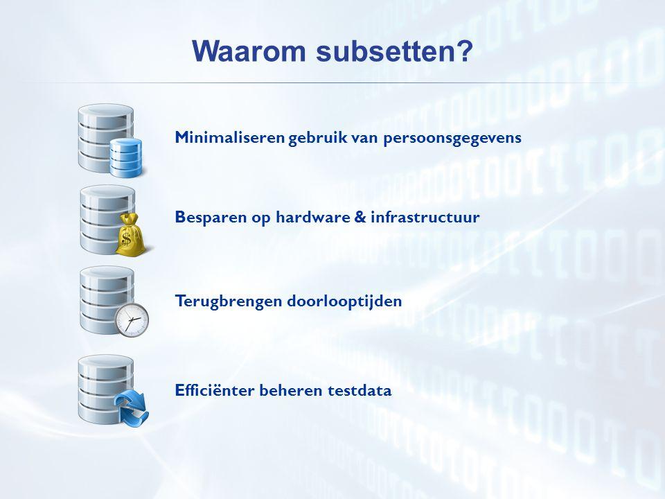 Minimaliseren gebruik van persoonsgegevens Besparen op hardware & infrastructuur Terugbrengen doorlooptijden Waarom subsetten? Efficiënter beheren tes