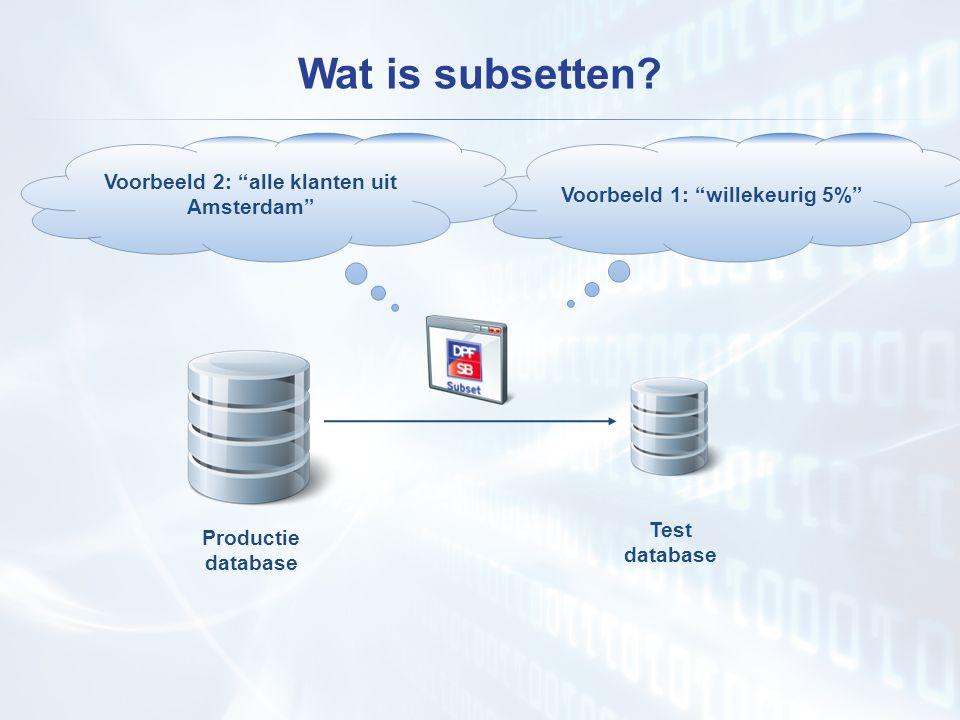 """Wat is subsetten? Voorbeeld 1: """"willekeurig 5%"""" Productie database Test database Voorbeeld 2: """"alle klanten uit Amsterdam"""""""