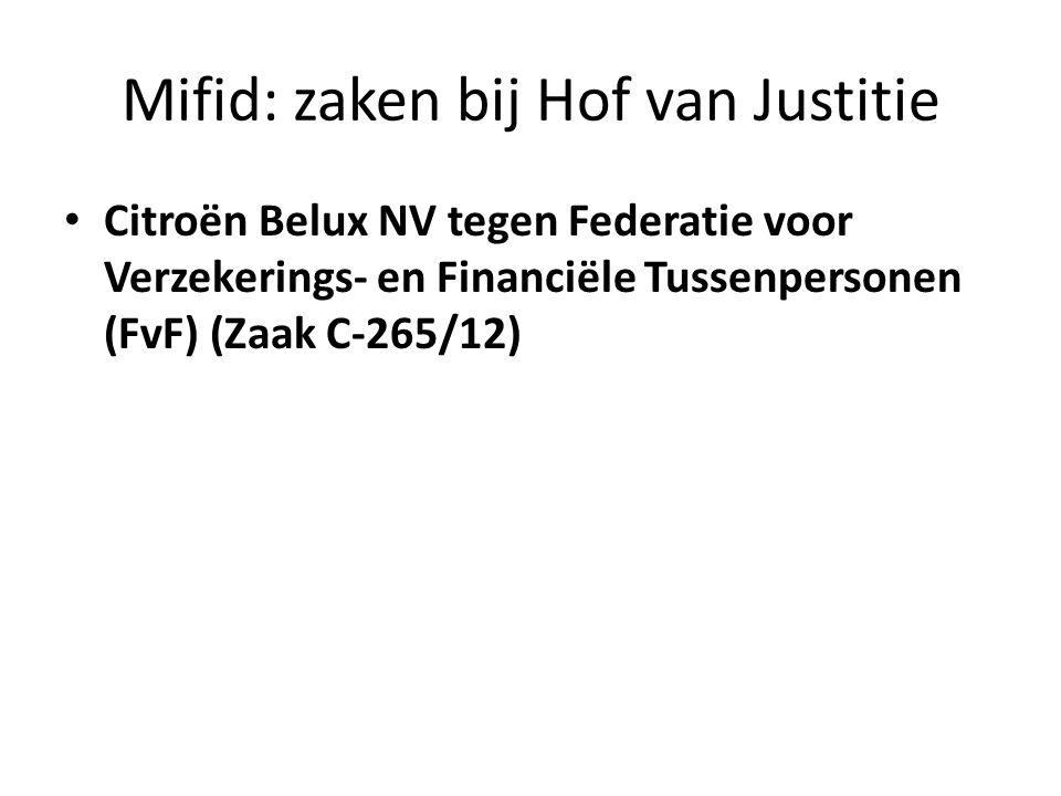 Mifid: zaken bij Hof van Justitie • Citroën Belux NV tegen Federatie voor Verzekerings- en Financiële Tussenpersonen (FvF) (Zaak C-265/12)