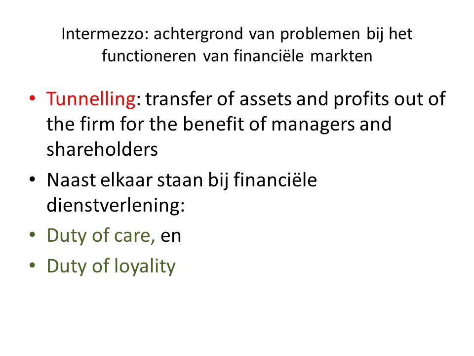 Intermezzo: achtergrond van problemen bij het functioneren van financiële markten • Tunnelling: transfer of assets and profits out of the firm for the