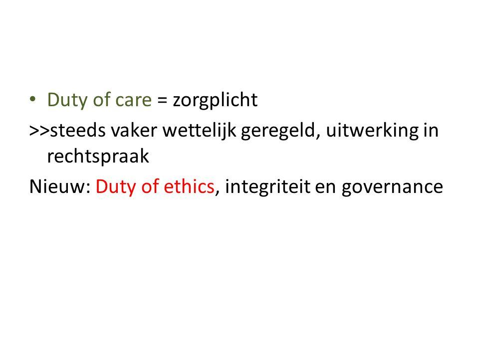 • Duty of care = zorgplicht >>steeds vaker wettelijk geregeld, uitwerking in rechtspraak Nieuw: Duty of ethics, integriteit en governance