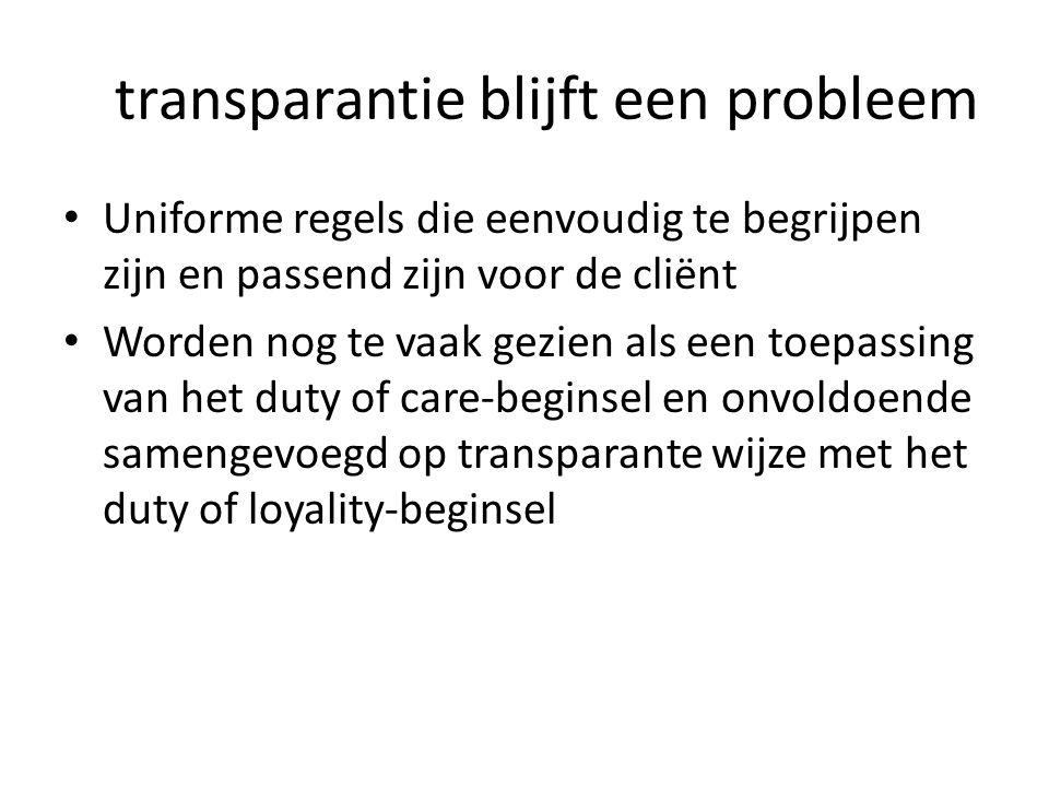 transparantie blijft een probleem • Uniforme regels die eenvoudig te begrijpen zijn en passend zijn voor de cliënt • Worden nog te vaak gezien als een
