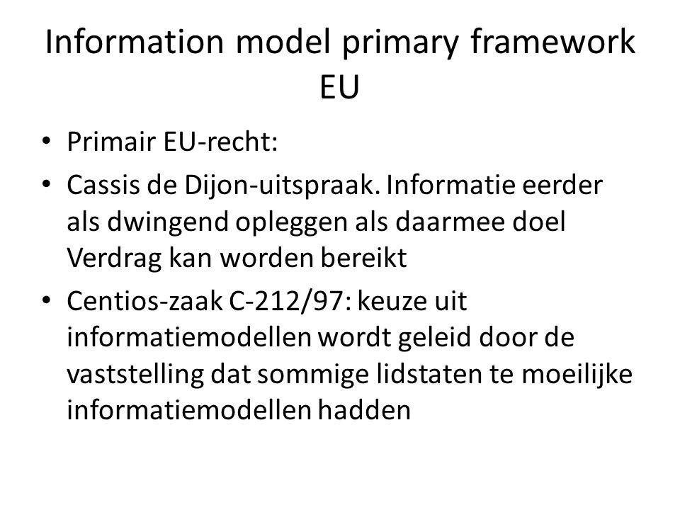 Information model primary framework EU • Primair EU-recht: • Cassis de Dijon-uitspraak. Informatie eerder als dwingend opleggen als daarmee doel Verdr