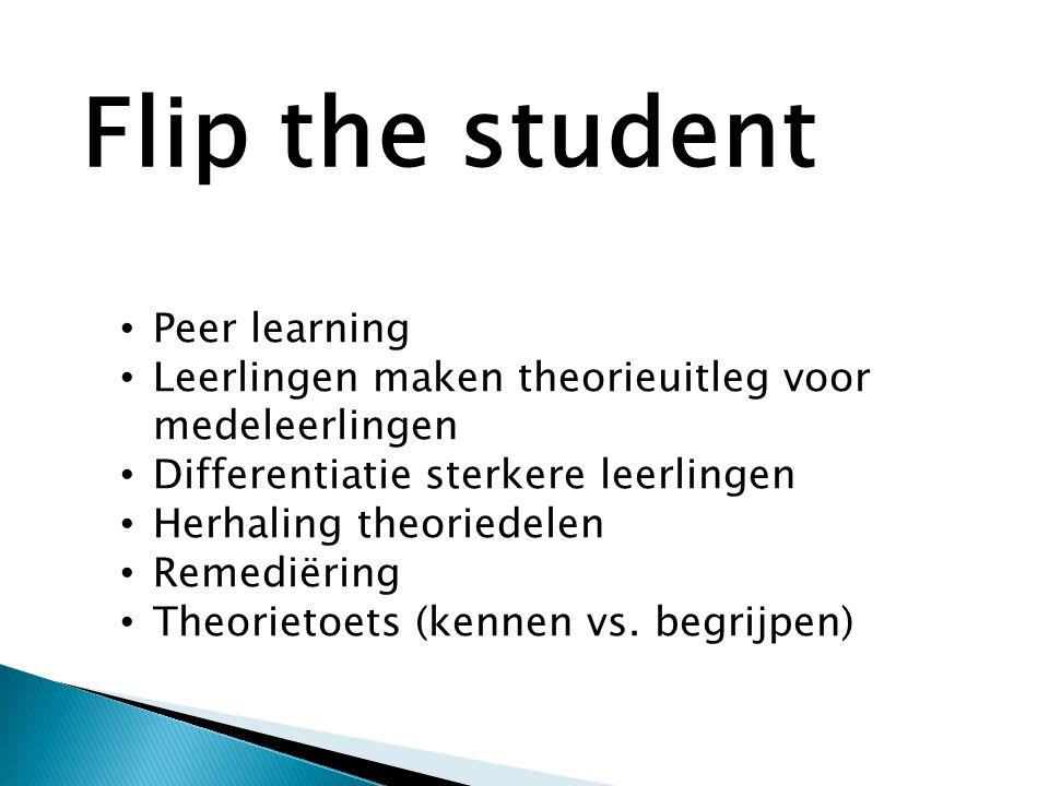 • Peer learning • Leerlingen maken theorieuitleg voor medeleerlingen • Differentiatie sterkere leerlingen • Herhaling theoriedelen • Remediëring • Theorietoets (kennen vs.