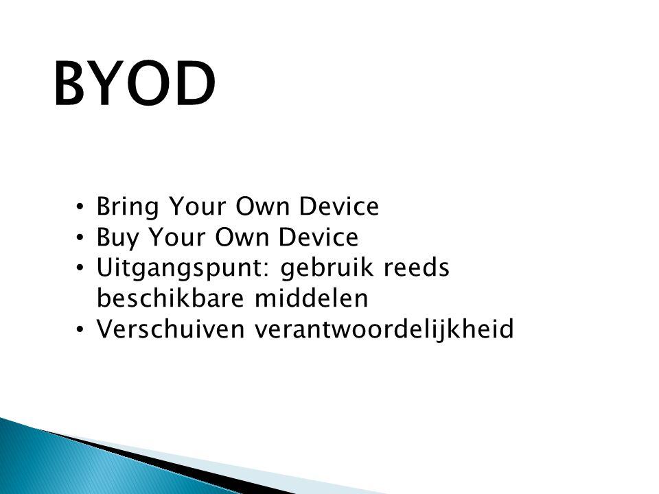 • Bring Your Own Device • Buy Your Own Device • Uitgangspunt: gebruik reeds beschikbare middelen • Verschuiven verantwoordelijkheid BYOD