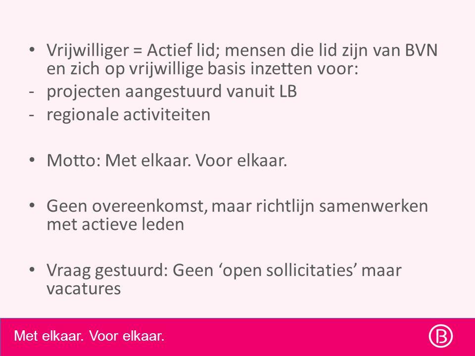 • Vrijwilliger = Actief lid; mensen die lid zijn van BVN en zich op vrijwillige basis inzetten voor: -projecten aangestuurd vanuit LB -regionale activiteiten • Motto: Met elkaar.