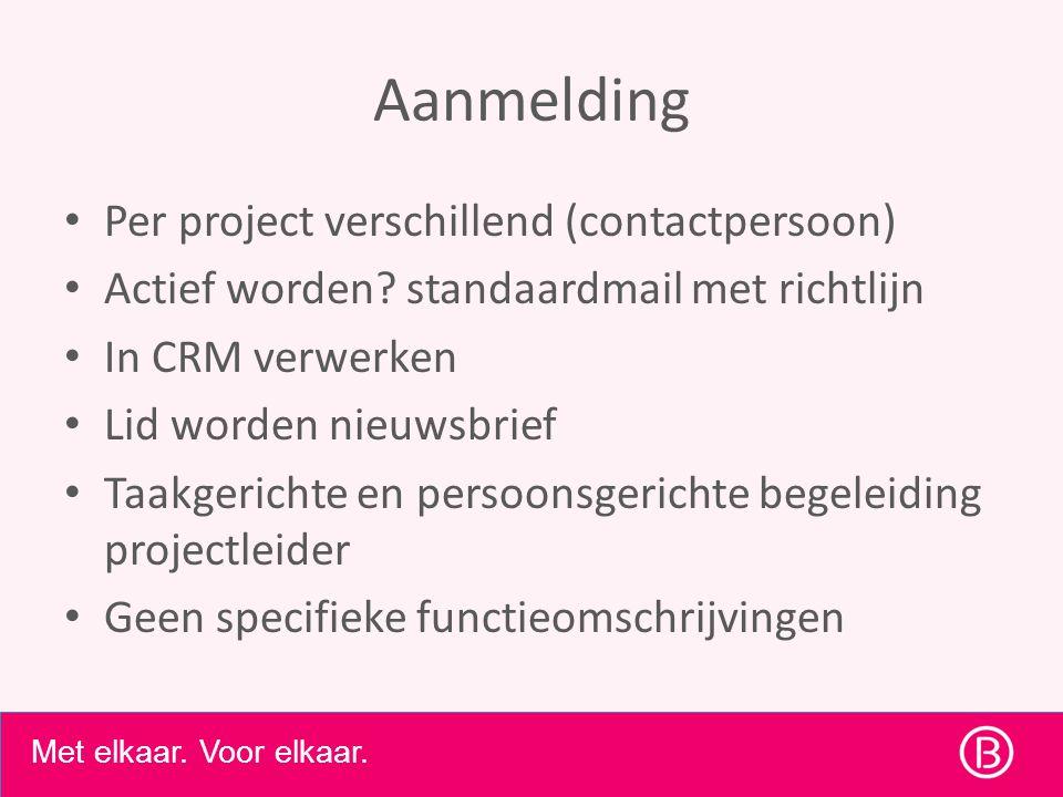Aanmelding • Per project verschillend (contactpersoon) • Actief worden.