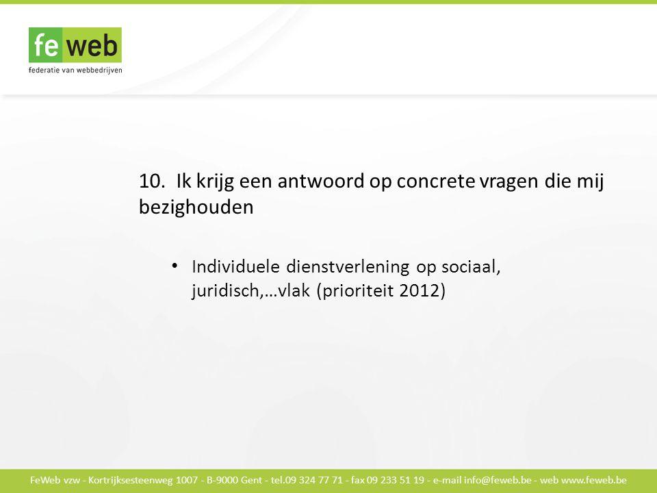 FeWeb vzw - Kortrijksesteenweg 1007 - B-9000 Gent - tel.09 324 77 71 - fax 09 233 51 19 - e-mail info@feweb.be - web www.feweb.be 10.