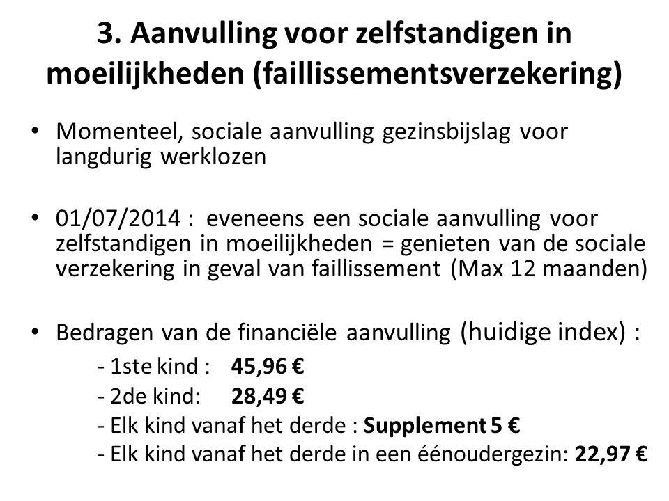 3. Aanvulling voor zelfstandigen in moeilijkheden (faillissementsverzekering) • Momenteel, sociale aanvulling gezinsbijslag voor langdurig werklozen •