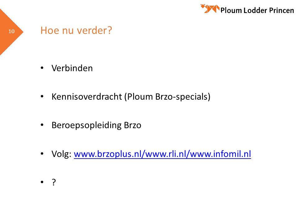 10 Hoe nu verder? • Verbinden • Kennisoverdracht (Ploum Brzo-specials) • Beroepsopleiding Brzo • Volg: www.brzoplus.nl/www.rli.nl/www.infomil.nlwww.br