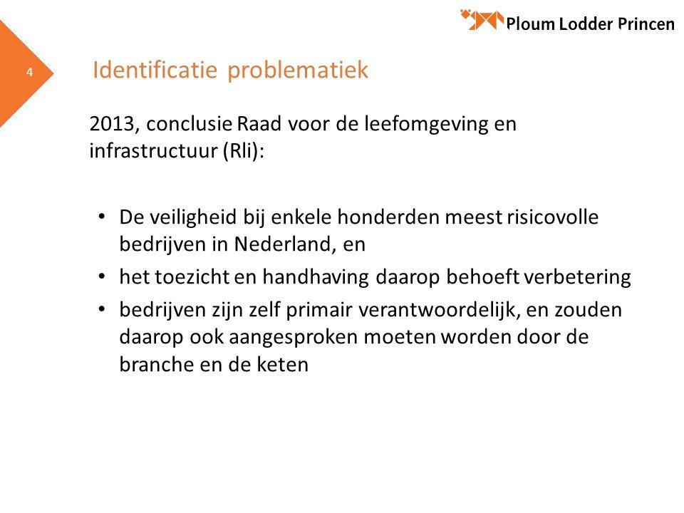 4 4 Identificatie problematiek 2013, conclusie Raad voor de leefomgeving en infrastructuur (Rli): • De veiligheid bij enkele honderden meest risicovol