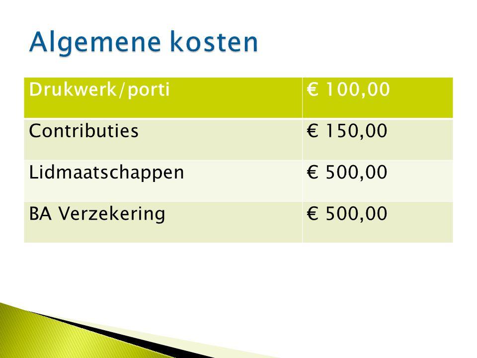 Drukwerk/porti€ 100,00 Contributies€ 150,00 Lidmaatschappen€ 500,00 BA Verzekering€ 500,00