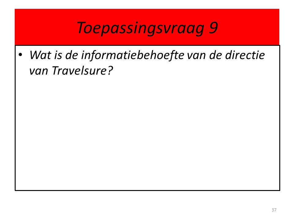 Toepassingsvraag 9 • Wat is de informatiebehoefte van de directie van Travelsure? 37