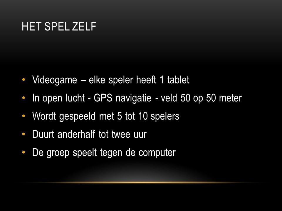 HET SPEL ZELF • Videogame – elke speler heeft 1 tablet • In open lucht - GPS navigatie - veld 50 op 50 meter • Wordt gespeeld met 5 tot 10 spelers • D