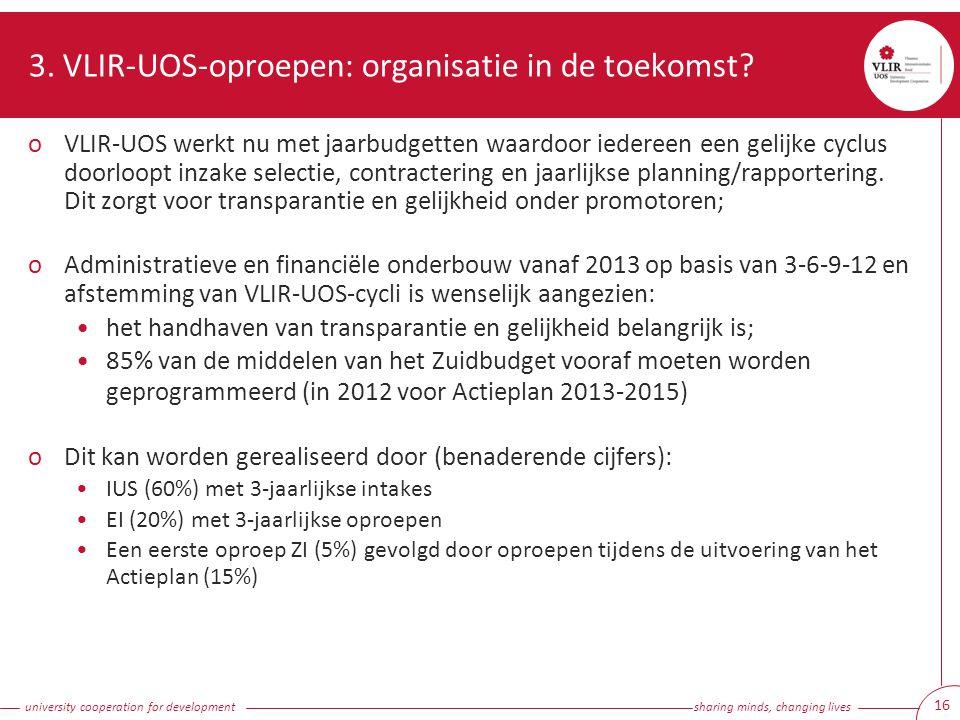 university cooperation for development sharing minds, changing lives 16 3. VLIR-UOS-oproepen: organisatie in de toekomst? oVLIR-UOS werkt nu met jaarb
